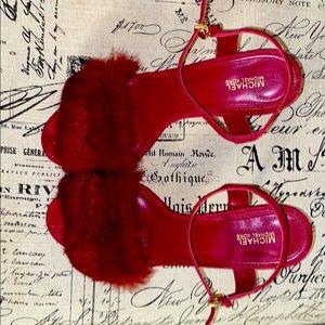 Michael Kors:Fay Sandals, Mulberry Suede/Fur Sz 10